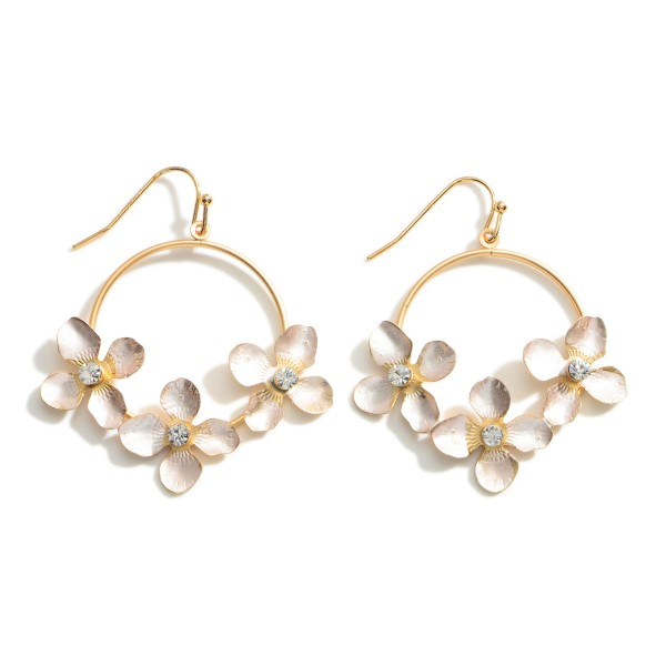 """Gold Drop Earrings featuring Flower Accents.  - Approximately 2"""" Long"""