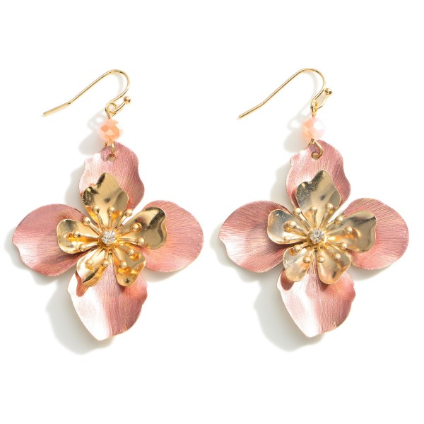 Wholesale floral Drop Earrings Gold Accents Long