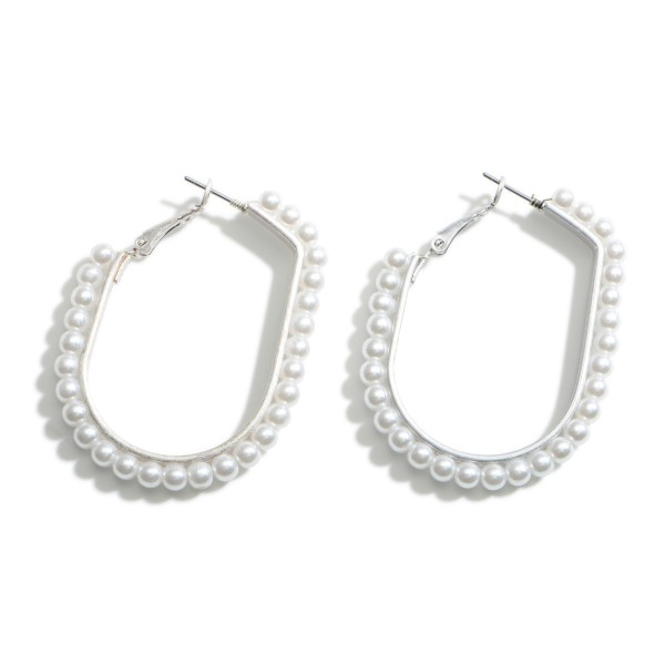 "Oval-Shaped Faux Pearl Hoop Earrings.   - Approximately 2"" Long"