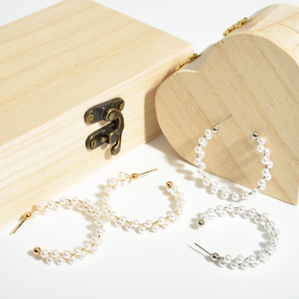 """Faux Pearl Hoop Earrings.   - Approximately 1.75"""" in Diameter"""