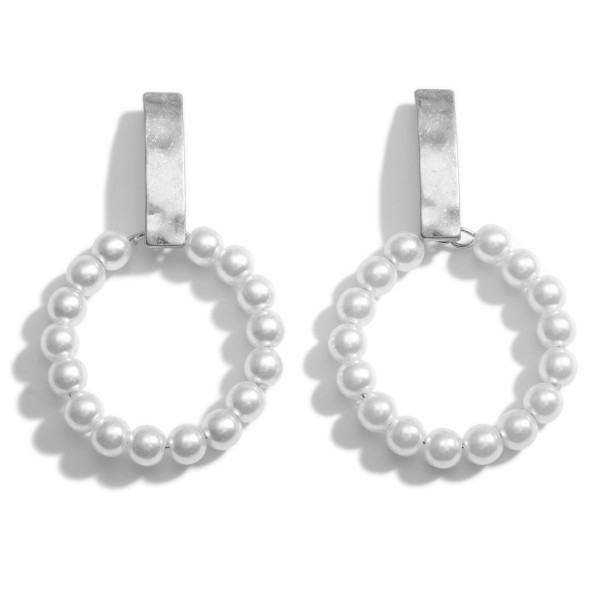 """Faux Pearl Drop Earrings Featuring Hammered Metal Accents.   - Approximately 2.25"""" Long"""