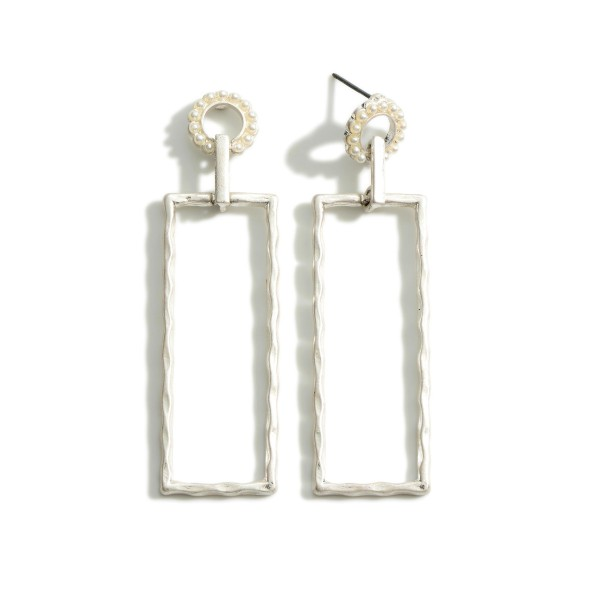 """Rectangular Drop Earrings Featuring Pearl Accents.  - Approximately 2.75"""" in Length"""