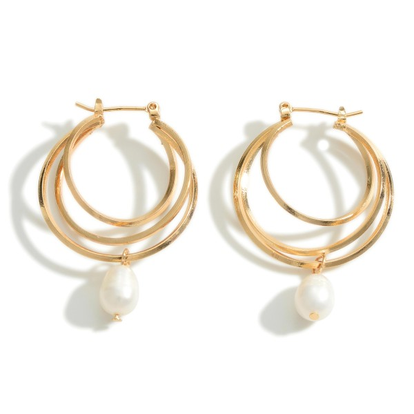 """Layered Hoop Earrings Featuring a Pearl Accent.  - Approximately 1.5"""" in Length"""