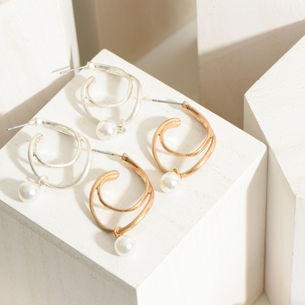 """Whimsical Hoop Earrings Featuring a Pearl Accent.  - Approximately 1.5"""" in Length"""