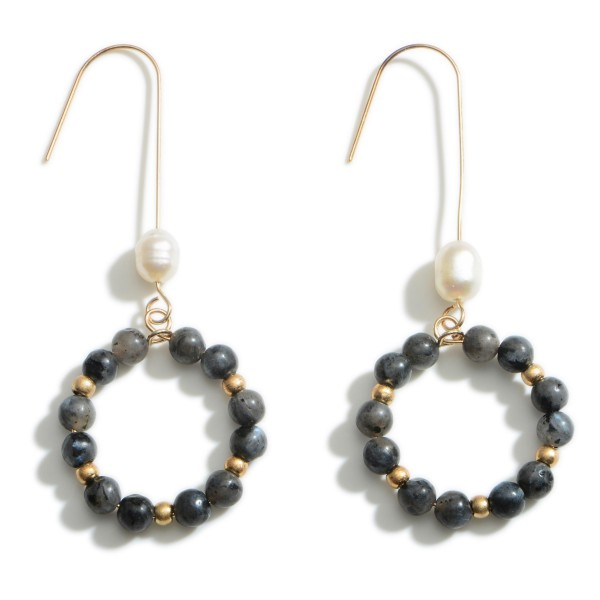 """Beaded Drop Earrings Featuring Faux Pearl Accents.   - Approximately 2.5"""" Long"""
