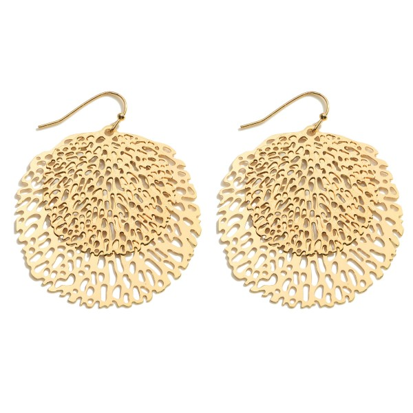 "Metal Filigree Drop Earrings.   - Approximately 2"" Long"
