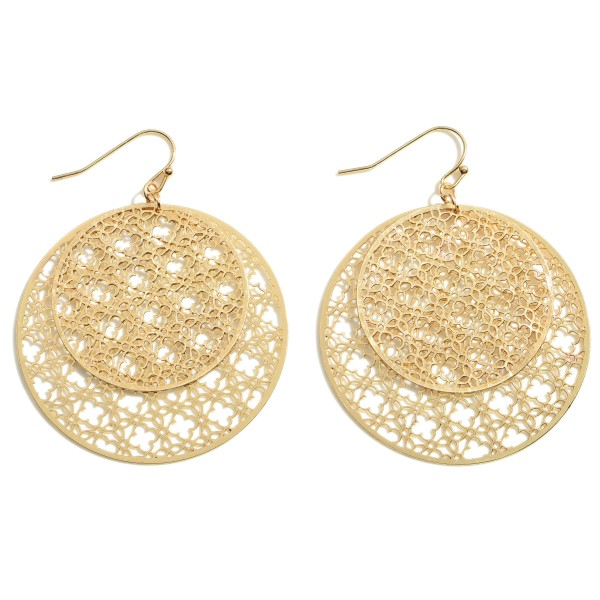"""Round Metal Filigree Earrings.   - Approximately 2.25"""" Long"""