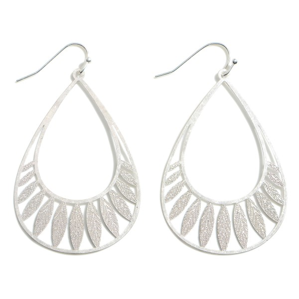 """Teardrop Metal Earrings Featuring Filigree Accents.   - Approximately 2.5"""" Long"""