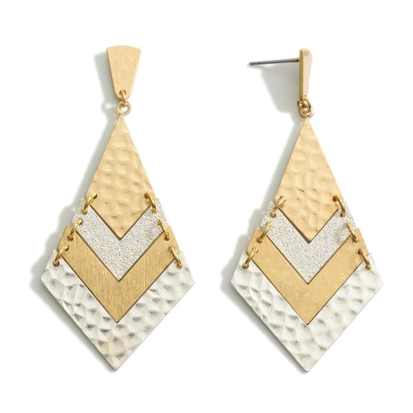 """Chevron Drop Earrings Featuring Hammered Accents.  - Approximately 2.75"""" in Length"""
