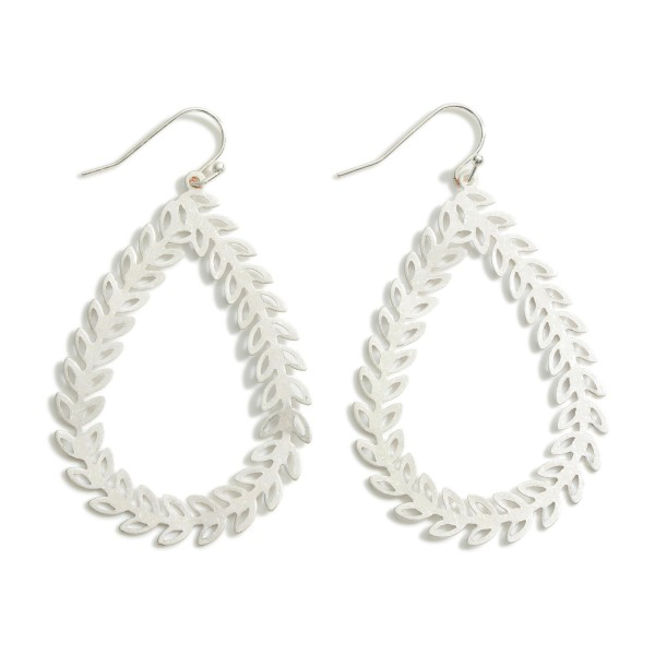 """Teardrop Earrings Featuring Leaf Accents.  - Approximately 2.5"""" in Length"""