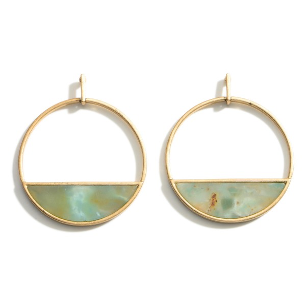"""Geometric Drop Earrings featuring Natural Stone Accents.   - Approximately 2"""" Long"""