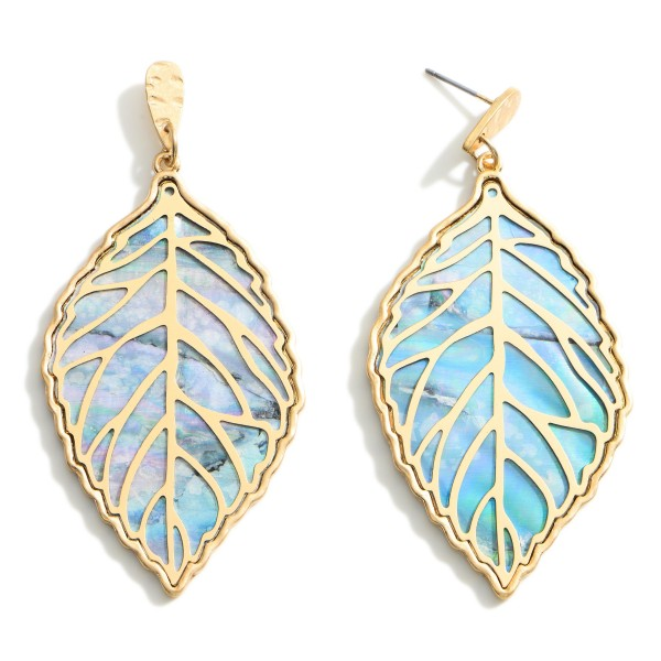 """Leaf Drop Earrings featuring Gold Accents.  - Approximately 3"""" Long"""