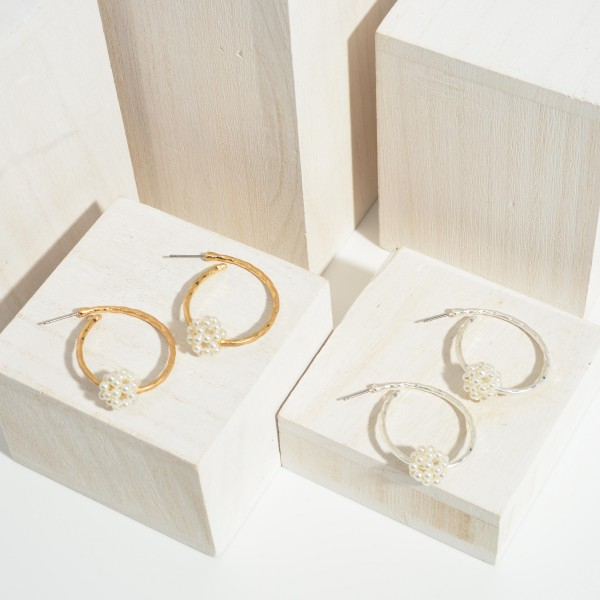 """Worn Gold Hoop Earrings featuring a Cluster of Pearls.   - Approximately 1.75"""" Long"""