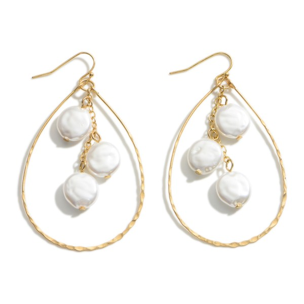 """Gold Teardrop Earrings featuring Pearl Accents.  - Approximately 3"""" Long"""