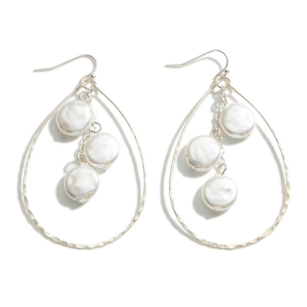"""Silver Teardrop Earrings featuring Pearl Accents.  - Approximately 3"""" Long"""