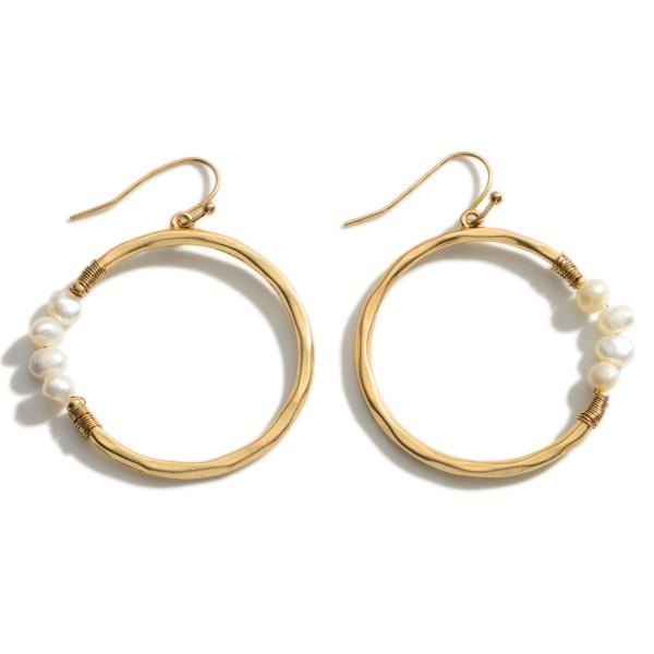 """Metal Drop Earrings Featuring Faux Pearl Accents.   - Approximately 1.75"""" Long"""