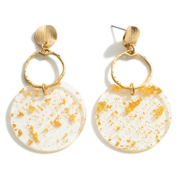 """Resin Drop Earrings featuring Gold Flake Accents.   - Approximately 2"""" Long"""