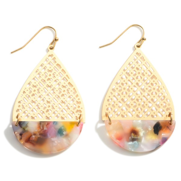"""Resin Teardrop Earrings featuring Gold Filigree Accents  - Approximately 2.25"""" Long"""