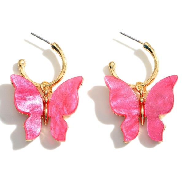 """Gold Hoop Earrings Featuring Glass Stone Butterfly Pendant.  - Approximately 1.5"""" in Length"""