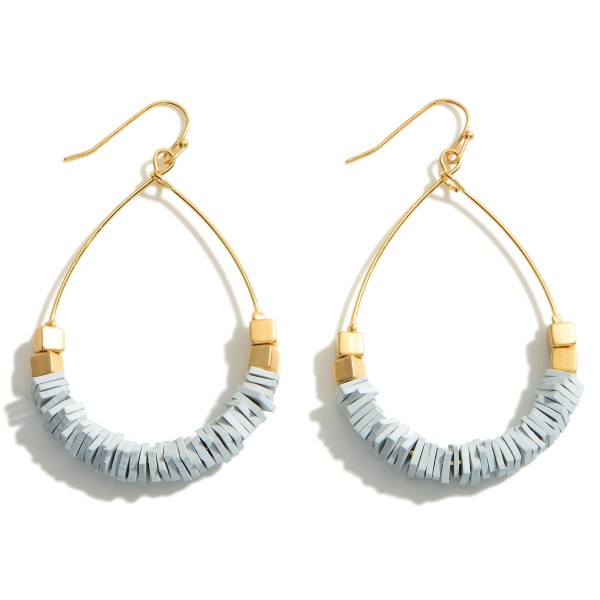 """Gold Teardrop Earrings Featuring Heishi Bead Accents.  - Approximately 2.5"""" in Length"""