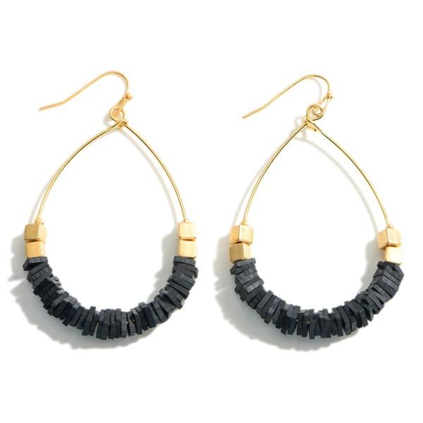 Wholesale gold Teardrop Earrings Heishi Bead Accents