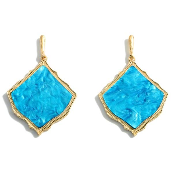 Wholesale gold Drop Earrings Moroccan Glass Stone Teardrop Pendant