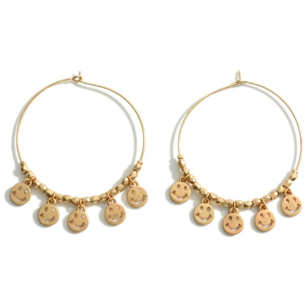 """Worn Gold Drop Earrings Featuring Smiley Face Accents.  - Approximately 2.25"""" in Length"""