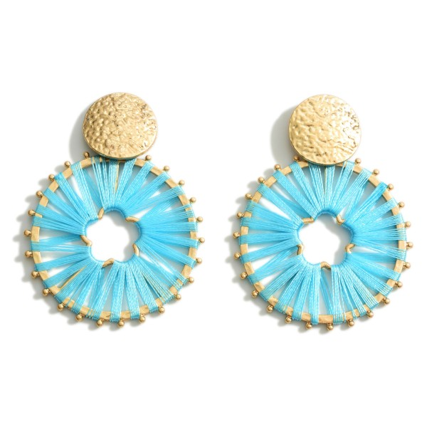 """Thread Wrapped Gold Drop Earrings.  - Approximately 2"""" in Length"""