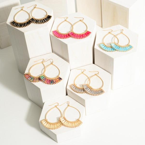 "Thread Wrapped Gold Teardrop Earrings.  - Approximately 2.75"" in Length"