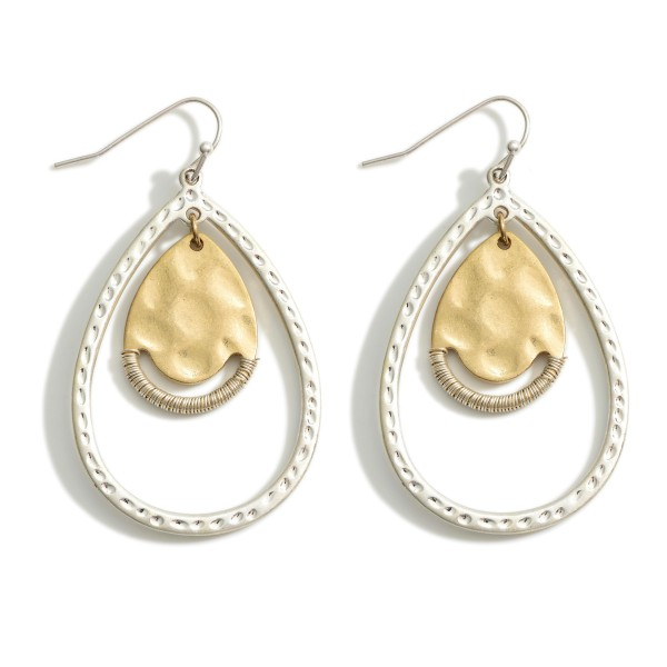 """Two-Tone Drop Earrings Featuring Textured Accents.   - Approximately 2.25"""" Long"""