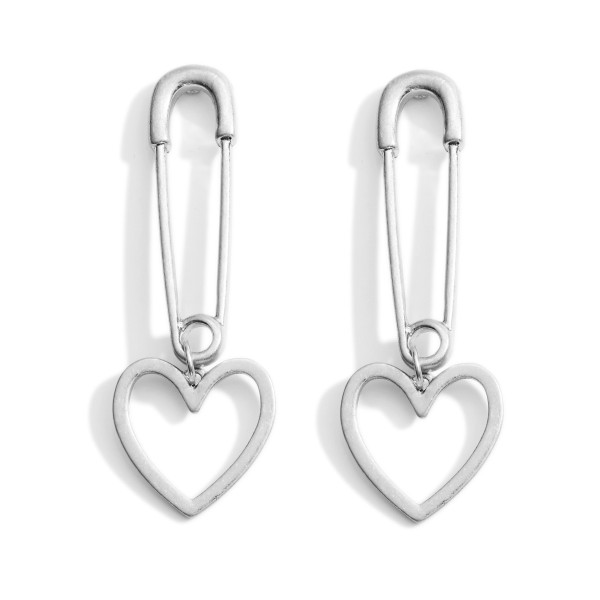 """Metal Safety-Pin Earrings Featuring Heart Accents.   - Approximately 2.5"""" Long"""