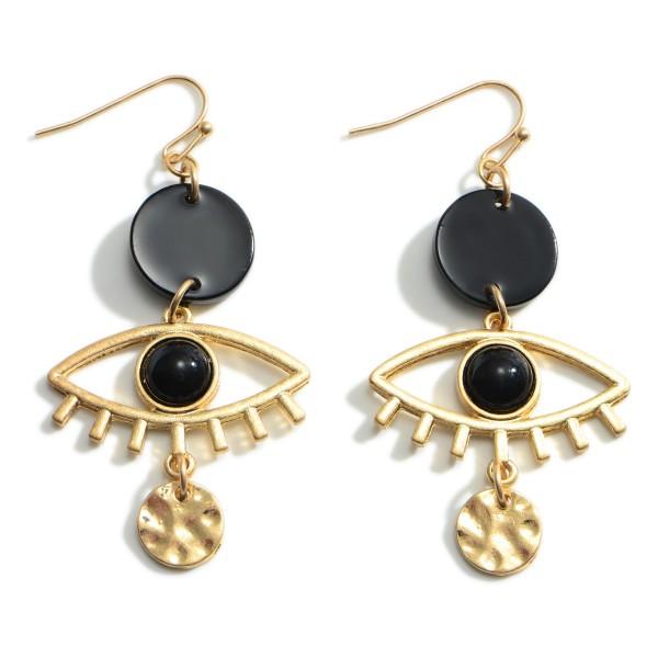 """Gold Evil Eye Drop Earrings.   - Approximately 2"""" Long"""