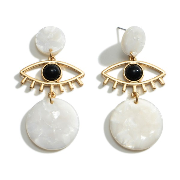 """Gold Evil Eye Drop Earrings Featuring Acetate Accents.   - Approximately 2"""" Long"""