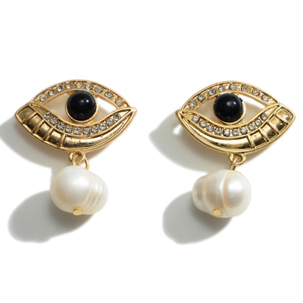 """Evil Eye Earrings Featuring Faux Pearl Accents.   - Approximately 1.25"""" Long"""