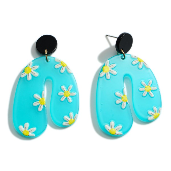 """Acetate Drop Earrings Featuring Floral Accents.   - Approximately 2"""" Long"""