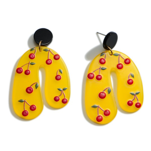 """Acetate Drop Earrings Featuring Cherry Accents.   - Approximately 2"""" Long"""