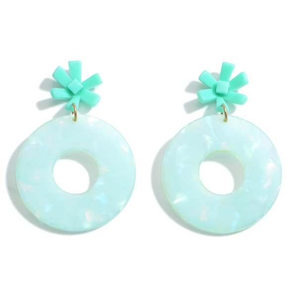 """Circular Resin Drop Earrings Featuring a Flower Detail.  - Approximately 2"""" in Length"""