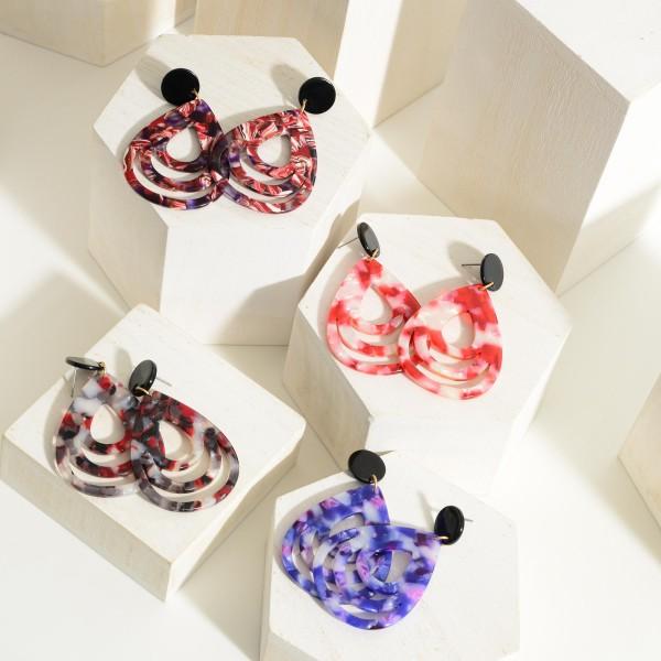 "Multicolor Drop Resin Earrings.  - Approximately 2.5"" in Length"