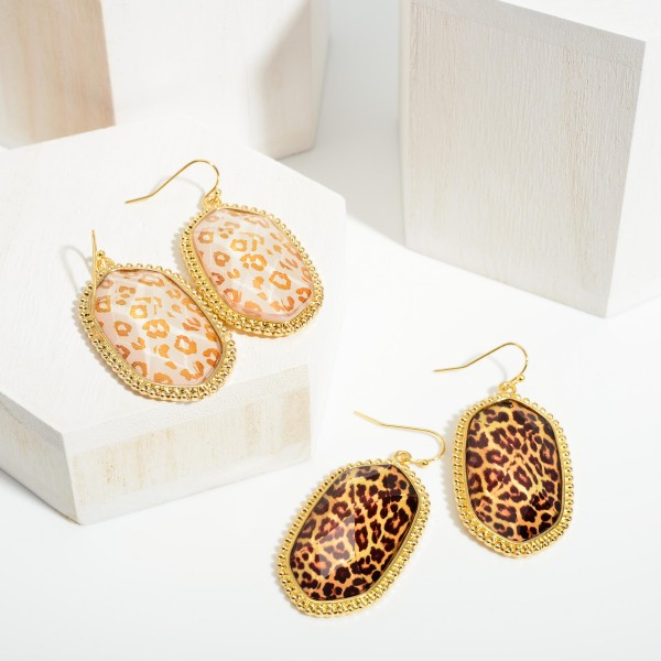 """Oval-Shaped Animal Print Drop Earrings.   - Approximately 2.25"""" Long"""