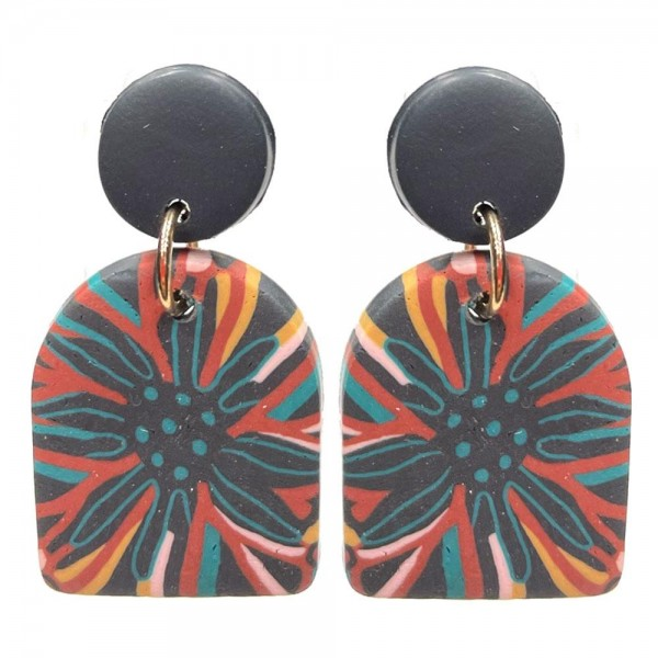 """Clay Polymer Drop Earrings Featuring Multi-Color Floral Design.   - Approximately 1.5"""" Long"""
