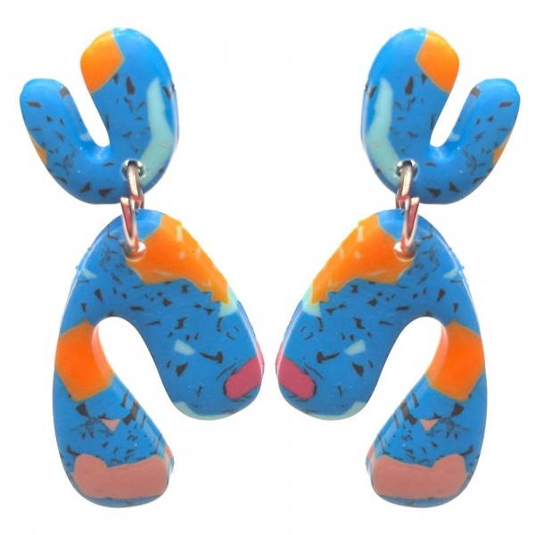 Wholesale polymer Clay Drop Earrings Multi Color Accents Long