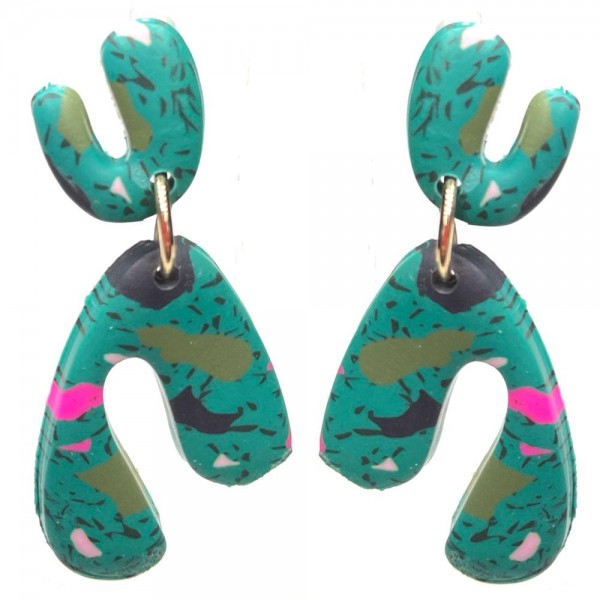 """Polymer Clay Drop Earrings Featuring Multi-Color Accents.   - Approximately 1.5"""" Long"""