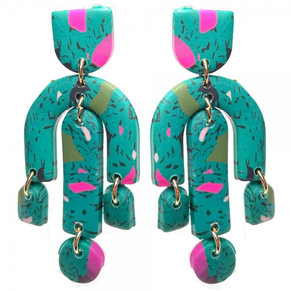 """Clay Polymer Drop Earrings Featuring Multi-Color Details.   - Approximately 2.5"""" Long"""