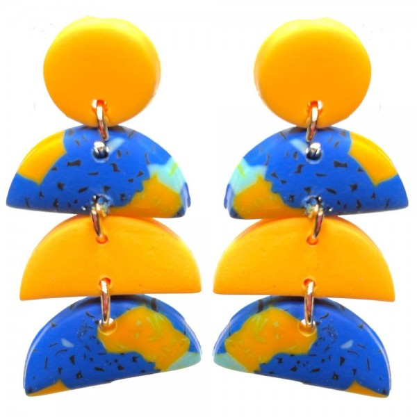 """Clay Polymer Drop Earrings Featuring Multi-Color Details.   - Approximately 1.75"""" Long"""