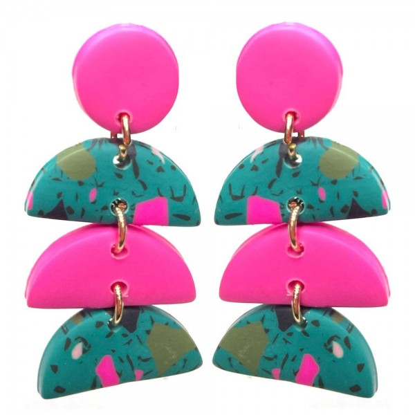 Wholesale clay Polymer Drop Earrings Multi Color Details Long