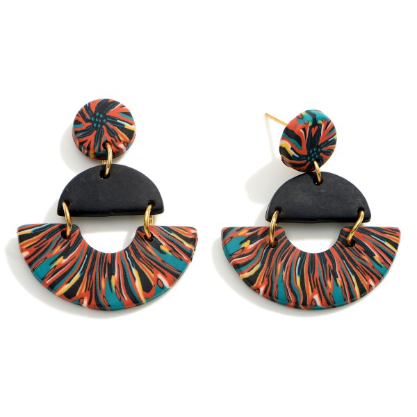 """Geometric Polymer Clay Drop Earrings.  - Approximately 1.5"""" in Length"""