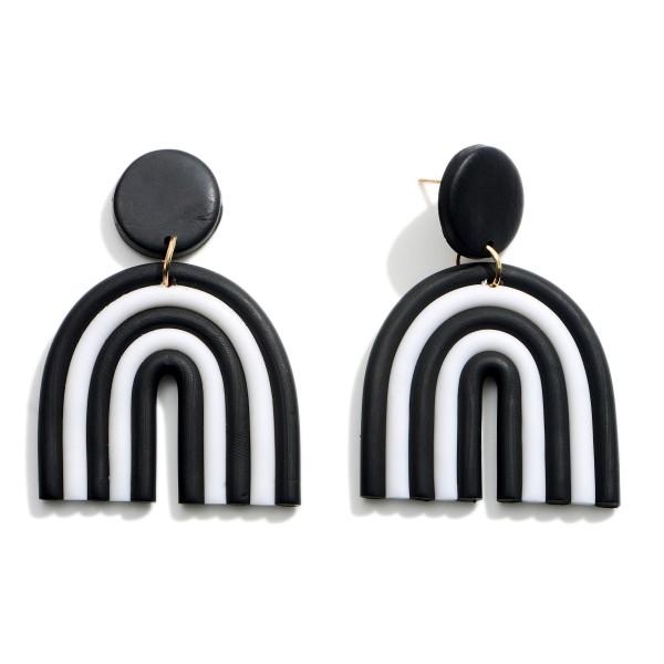 Wholesale black White Polymer Clay Drop Rainbow Earrings