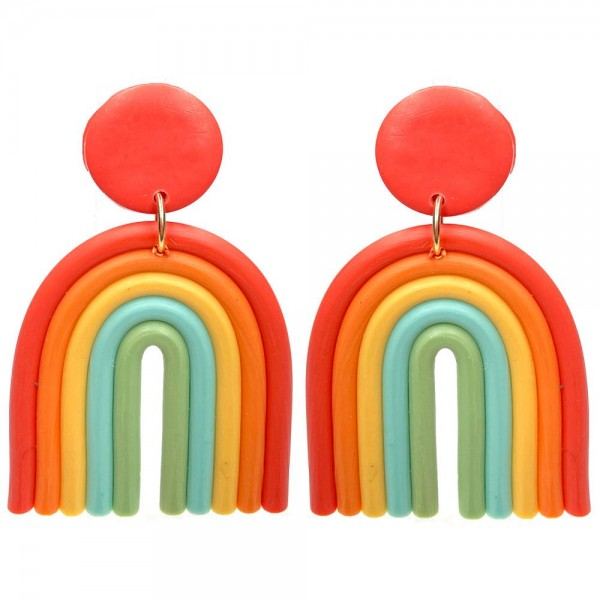 """Multicolor Polymer Clay Drop Rainbow Earrings.  - Approximately 2"""" in Length"""