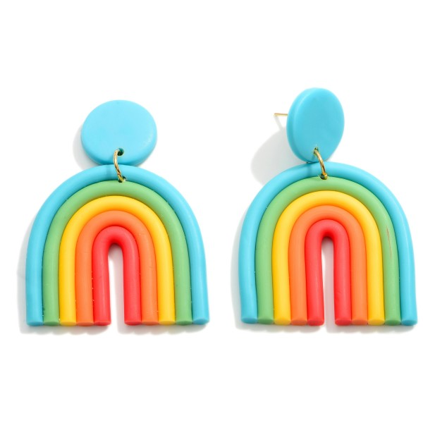 """Clay Polymer Rainbow Drop Earrings.   - Approximately 2.25"""" Long"""