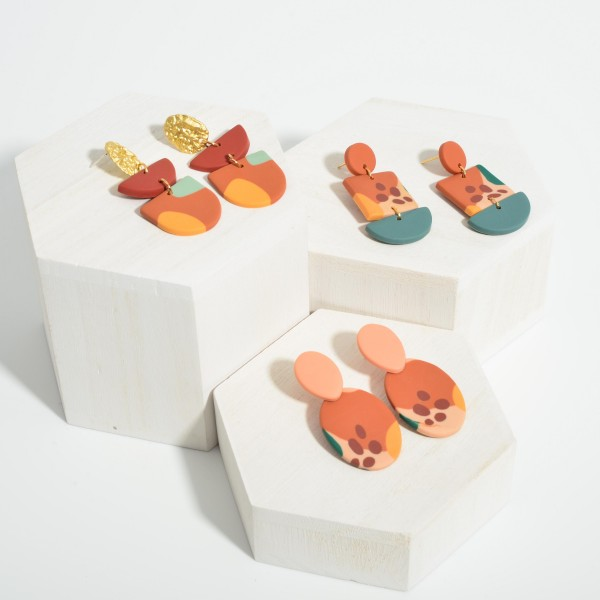 """Multicolor Polymer Clay Drop Earrings Featuring Gold Accents.  - Approximately 2.25"""" in Length"""